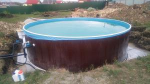 Сборный бассейн ЛАГУНА 48814 круглый 488х125 см (темное дерево)